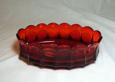 """Image detail for -Vintage Fostoria Ruby Red Coin Glass 9"""" Oval Bowl Dish Centerpiece ..."""