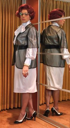 Wearing a chiffon bedjacket over a satin blouse...