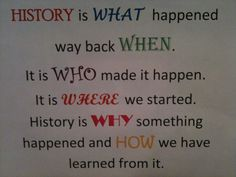 History is...  I created this to go into my students social studies binders.  I was looking for a good, but simplistic, way to explain what history is and why they should care.  The picture is not great, but I used bright colors and  different fonts to make the poster pop. I will also display a copy, with a bright colored mat around it, on one of my bulletin boards.