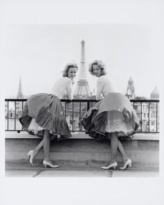 twin, paris, white shoes, full skirts, french fashion, circle skirts, vintage pictures, petticoat, friend