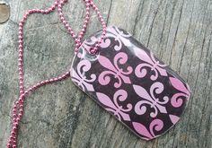 Pink Fleur de Lis Dog Tag Pendant Necklace. $10.00, via Etsy.
