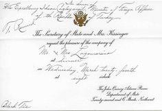Dinner Invitation from Secretary of State, Henry Kissinger and Mrs. Kissinger.
