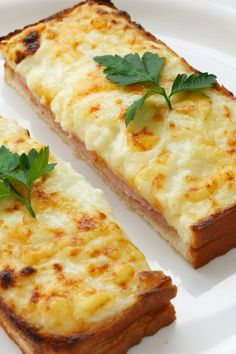 Croque Monsieur - Baked Ham and Cheese Sandwiches. Great for luncheon.