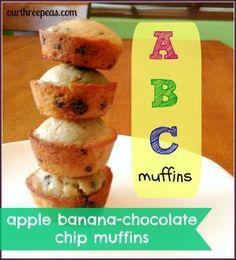 ABC Muffins: Apple Banana and Chocolate Chip Muffins