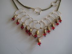Indosnesian red glass and gold mala sparkle drop necklace
