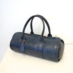 1960s Vintage COACH NYC Navy Blue ULTRA Rare Bonnie Cashin Barrel Bag