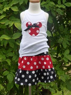 2pc Minnie Mouse skirt & tshirt set  sz 3/6mo up to by SedonaStyle, $24.00