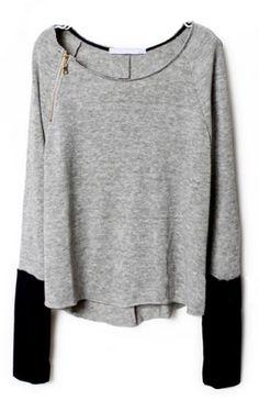 Comfy Zippered Curved Sweatshirt