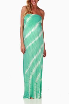 Mint Green Tie Dye Maternity Maxi Dress #maternity #fashion