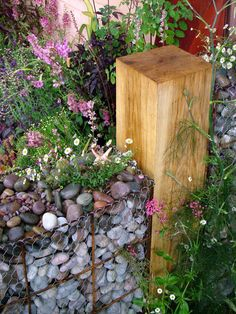 gabion wall for the flower garden