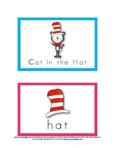 Dr. Seuss Word wall cards (and other ideas).