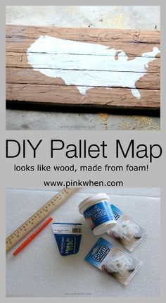 Cool and Easy DIY Faux Pallet Map Art.  Made from foam and lightweight!
