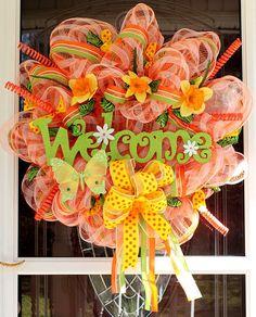 art bright, idea, spring mesh wreaths, crafti, wreath meshwreath, door decor, deco mesh wreaths, diy, bright colors