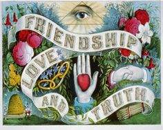 """Antique Masonic Print """"Friendship Love and Truth"""" Steampunk Gothic Victorian Gypsy Circus Carnival Cult Spooky Eye Heart Occult. $30,00, via Etsy."""