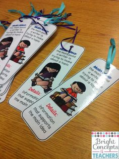 Student bookmarks for main idea and details