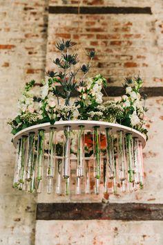 floral chandelier, photo by Cassidy Parker Smith http://ruffledblog.com/notwedding-nyc #weddingideas #chandeliers