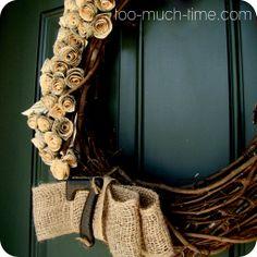 books, burlap wreaths, craft idea, book pages, paper flowers, front doors, sheet music, burlap bows, bow wreath