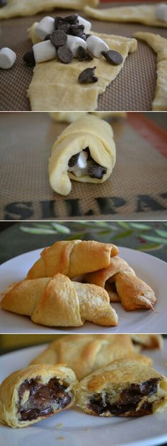 Easy dessert - we made them and loved them! No recipe - just fill with chocolate chips and marshmallows; then bake according to crescent roll recipe. (Pinch the sides closed so the marshmallows don't spill out)