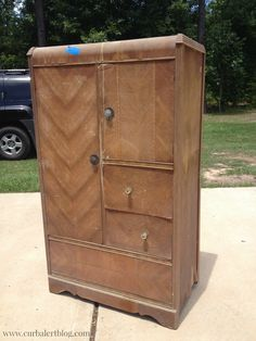 Curb Alert!: Waterfall Style Antique Chifferobe Wardrobe (The Before!) -trust me: you HAVE to see the transformation!