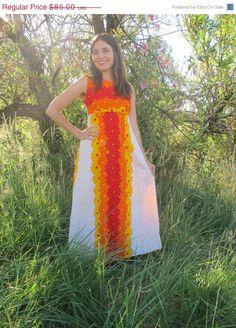 70s Hawaiian Sun Bohemian Empire Waist Cotton Barkcloth Dress