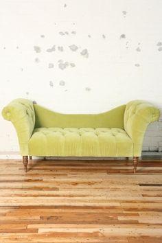 Vintage lime green velvet sofa