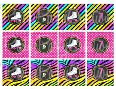 NEON CHALKBOARD ROLLERSKATE cupcake by PrettyPartyCreations, $5.50