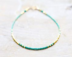 Malachite and turquoise gold thin bracelet - delicate jewelry, summer jewelry