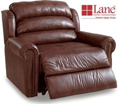 A rich traditional design with nailhead accent trim and dual stitching highlight the Rockford recliner by Lane. Reach maximum comfort with the pad-over-chaise d