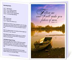 "Church Bulletins Templates : I Will Make You Fishers of Men Church Bulletin Template with bible verse: ""I will make you fishers of men. Matthew 4:19"""