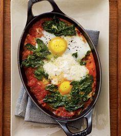 heirloom tomato, baked eggs, mascarpone recipes, sauces, mascarpon recip, tomato sauce, spinach, tomatoes, bake egg