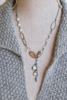 Isabelle.romantic,crystal,freshwater pearl,rhinestone drop,pine cone necklace. Tiedupmemories