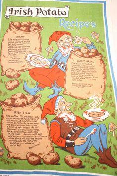 Vintage Linen Irish Recipe Tea Towel