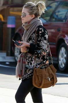winter outfit ... An Olsen twin - rocking a scarf