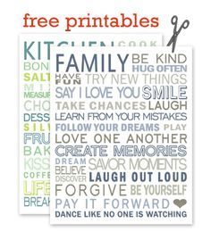Free printables from Simple Crafter idea, printables, subway art, simpl crafter, inspir, free printabl, families, quot, family rules