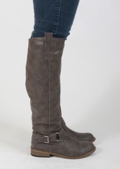 Riding Boot With Buckle & Loop Design #riding #boots #taupe #buckle #shoes #kieus