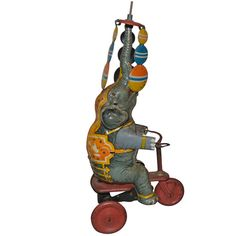 Vintage Bicycling Circus Elephant, Lehmann | From a unique collection of antique and modern toys at http://www.1stdibs.com/furniture/more-furniture-collectibles/toys/