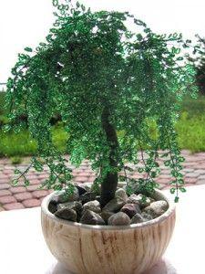 МК Плакучая ива. Деревья из бисера.