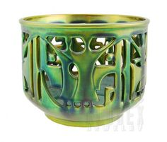 Openwork cachepot by Zsolnay | new reproduction of 1920's | Ceramic & eosin glaze | $395 online