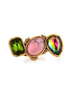 Shop now: Oscar de la Renta 3-Crystal Ring, Green/Pink