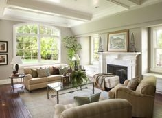 wall colors, furniture arrangement, family room design, living rooms, fireplac, famili room, family rooms, live room, window seats