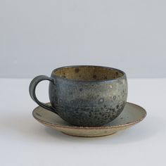 Japanese Stoneware Cup and Saucer / Midnight and Natural Specks