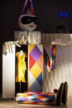 "Moschino boutique in Milan, Via Sant'Andrea 12 – April 2012 window display. Theme: ""Harlequin-Arlecchino"""