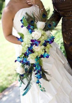 peacock feathers, bridal bouquets, blue flowers, white roses, wedding bouquets