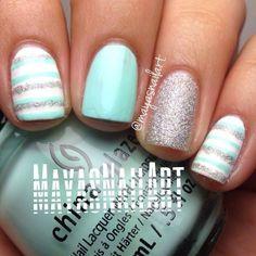 mayasnailart blue, spring colors, nail designs, nail arts, summer nails, glitter nails, nail nailart, nail ideas, stripe
