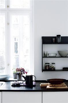 kitchen shelves, kitchen detail, light kitchen