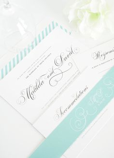 Classic Wedding Invitations in Aquamarine