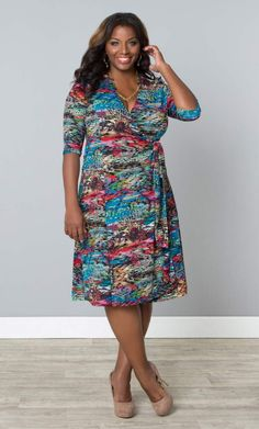 #plussize Essential Wrap Dress - Color Chameleon #bbw #curvy #fullfigured #plussize #thick #beautiful #fashionista #style #fashion #shop #online www.curvaliciousclothes.com TAKE 15% OFF Use code: TAKE15 at checkout