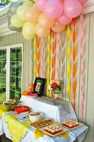 dessert tables, party backdrops, birthday parties, food tables, shower, balloon, party tables, parti idea, crepe paper