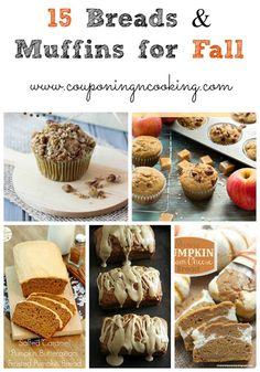 Fall Flavors: 15 breads & muffins that are perfect for fall! #fall #apple #pumpkin www.couponingncooking.com