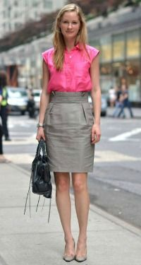 pink and grey work outfit